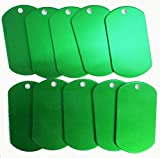 Spoilt Rotten <span class='highlight'>Pets</span> Anodised Aluminium GREEN Blank Pet Identity Tags x 10 Large Army Tags - Job Lot <span class='highlight'>Wholesale</span> Blanks For Engraving & Stamping (Green)