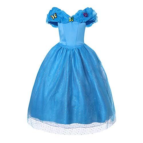 Meisjes Princess Kostuum, Party Butterfly Dress Tutu Dress Up Puff Party mouwen Kostuums Pageant Prom baljurk,140