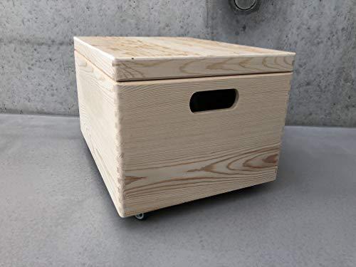 Holz Spielzeugkiste Blanco – Rollen Triangel skandinavisch mit Deckel - 2