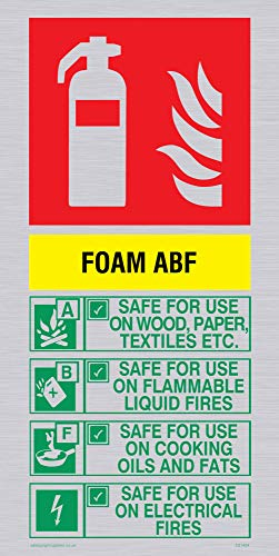Viking Signs FZ1404-P12-SV ABF Foam Brandblusser Sign, Zilver, Vinyl, 200 mm H x 100 mm W