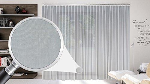 Sun World Maßgeschneiderte weiße Batist Store Gardine, inklusive Blei und Automatik Faltenband 1:2,5, 3er Falte, Gardinen nach Maß, Vorhang nach Maß, Höhe 90 – 295 cm (150cm Höhe x 500 cm Breite)