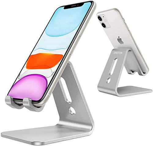 OMOTON Soporte Teléfono Móvil Mesa, Phone Stand de Aluminio para iPhone 11/SE 2020/11Pro/XR, Redmi Note 9/8/7, Samsung y Otras Smartphones, Plata.