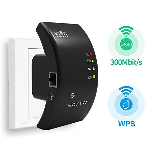 NETVIP WLAN Repeater 300Mbps/2.4GHz Signal Verstärker Wireless Netz WLAN Verstaerker Superboost WLAN Range Extender mit LAN-Port und WPS/AP Modus/Repeater Modus, Kompatibel mit den meisten Routern