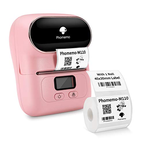 Phomemo-M110S Thermal Label Maker- Mini Portabel Bluetooth Label Maker Machine for Business, Barcode, Labeling, Crafters, Retailers or Organizers, Compatible with Android & iOS, Pink