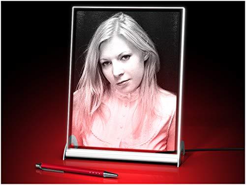 GLASFOTO.COM, Glasfoto LED beleuchtet, 180 x 240 x 10 mm, Hochformat, mit Ihrem eigenen Foto als individuell anpassbares Geschenk, Kristallglas Innengravur in Premiumqualität
