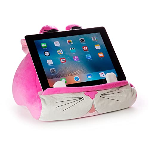 Cuddly Reader iPad Stand, Tablet Stand and Book Holder, Reading Pillow for Kids Children, Reading in Bed Travel, Soft Cushion Pillow, Gift Idea eReader/Kindle/Smartphone Compatible (Kiki Kitty)