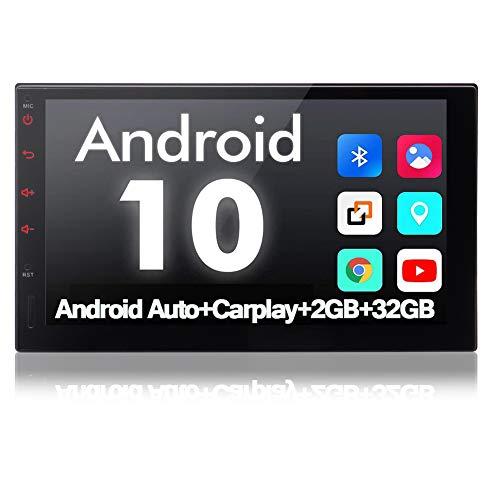 Bluetooth Autoradio Android Auto Carplay Radio Auto Moniceiver mit UKW RDS-Tuner Android 10.0 USB-Mirroring Kapazitivem Touchpanel Doppel Din Radio WiFi Lenkradsteuerung 2GB+32GB Externes Mikrofon