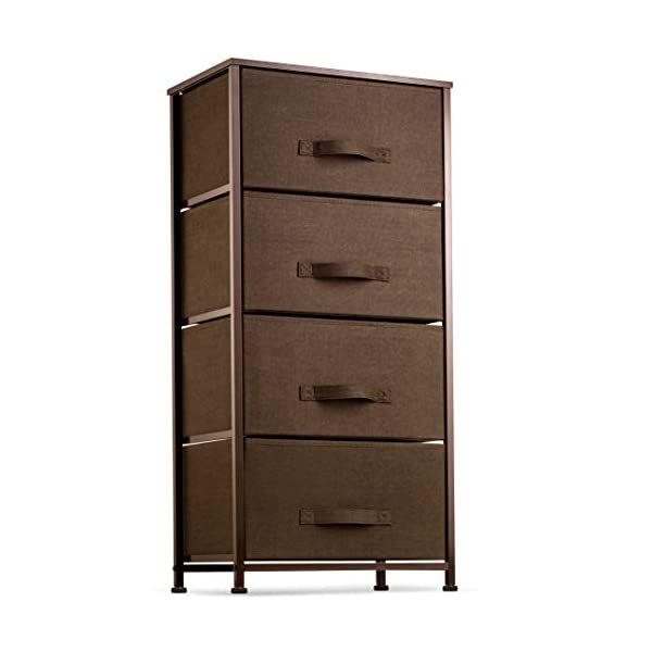 4 Drawer Dresser Organizer Tall Fabric Storage Tower for Bedroom, Hallway, Entryway,...