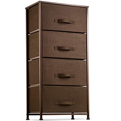 Find Cheap 4 Drawer Dresser Organizer Tall Fabric Storage Tower for Bedroom, Hallway, Entryway, Closets, Nurseries. Furniture Storage Chest Sturdy Steel Frame, Wood Top, Easy Pull Handle Textured Print Drawers
