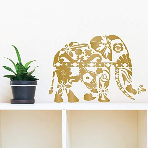 BailongXiao Rahmenlos-Böhmischer Elefant Wandtattoo Blume Marokkanisches Muster Wandstick