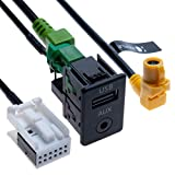Interruttore per auto USB AUX + Cavo di collegamento USB 4 pin + cablaggio AUX 12 pin | Compatibile con VW Volkswagen Jetta MK5 MK6 Golf Passat Scirocco Polo Touran Tiguan Beetle Vehicle radio | 1.5 m