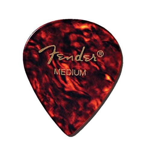 Fender 551 Shape Classic Celluloid Picks (12 Pack) for electric guitar, acoustic guitar, mandolin, and bass, 551 - Heavy, Multicolor (Tortoise Shell)