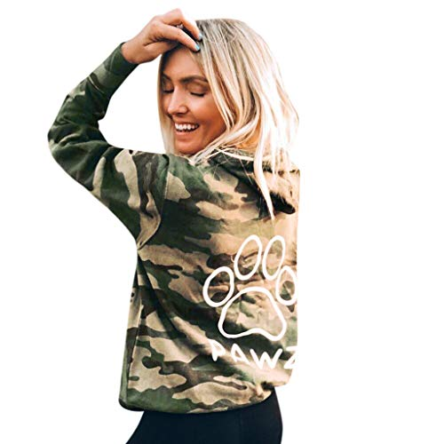 Find Discount QIBOOG Womens Camouflage Print Pullover Hoodie Drawstring Hooded Sweatshirt Pocket