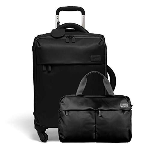 Lipault - Original Plume Spinner 55/20 Carry-On Suitcase & City Plume 24H Travel 2 Piece Luggage Set - Black