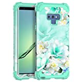 Casetego Compatible with Galaxy Note 9 Case,Floral Three Layer Heavy Duty Hybrid Sturdy Shockproof Full Body Protective Cover Case for Samsung Galaxy Note 9,Green/White