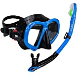 WACOOL Snorkeling Package Set for Adults, Anti-Fog Coated Glass Diving Mask, Snorkel with Silicon Mouth Piece,Purge Valve and Anti-Splash Guard (Blue)