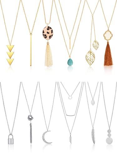 Kudiro 12 piezas de collar largo con colgante en Y borla hoja círculo barra collar para mujer (polígono)