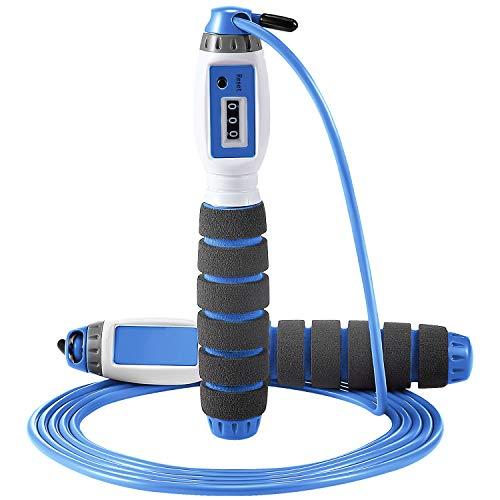 Automatisches Zähl Springseil, Einstellbares Springseil für Geschwindigkeit Ausdauertraining Aerobic Übungen Fitness Gewichtsverlust Zählseil Erwachsene Kinder (Blau)