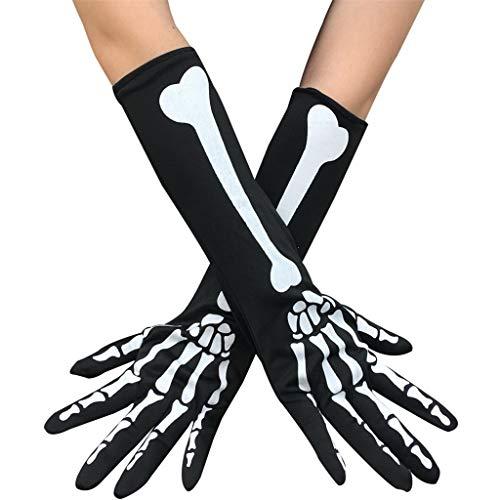 KODH 3 stücke Halloween Lange Handschuhe Ghost Bone Handschuhe Cosplay Horror Performance Handschuhe Maskerade Dress Up Requisiten Skeleton Handschuhe (Color : Black)