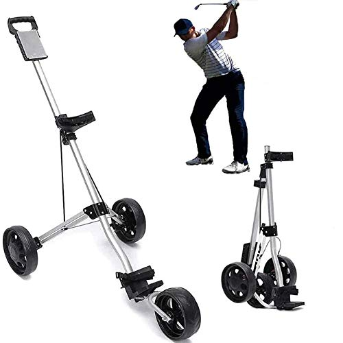 Review Golf Push Cart 3 Wheel, Easy Carry and Fold Golf Trolley with Adjustable Handle Angle, Scorec...