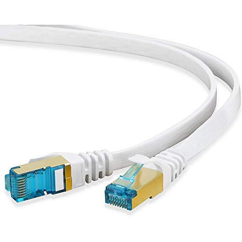 HUANGTAOLI Cavo di Rete Ethernet Cat 7 Patch Gigabit Lan con Connettori RJ45 Placcati in oro Alta Velocità 10 Gbps 600MHz (Bianco, 30 Metri)