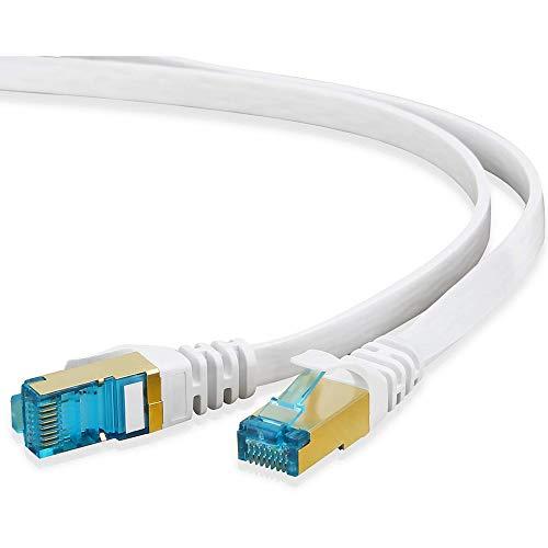 HUANGTAOLI Cavo Ethernet Cat 7 RJ45 Placcati in oro Alta Velocità 10 Gbps 600MHz (Bianco, 3 Metri)