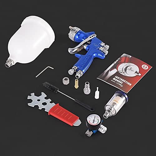 KKTECT Pistola de pulverización de alta atomización HVLP Pistola de pulverización de aire con alimentación por gravedad de 1,3 mm con regulador de presión de aire Tanque de pintura de 600 cc