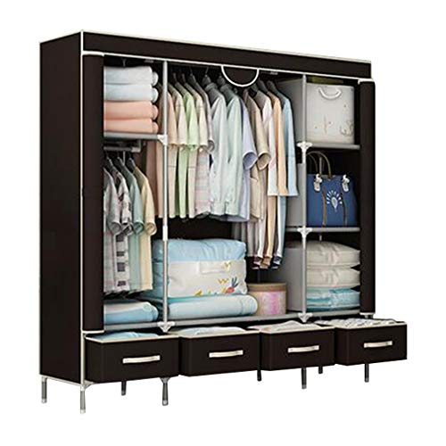 JHNEA Cloth Wardrobe Clothes Closet, Portable Closet Wardrobe Storage Closet Standing Closet Fabric Cabinet Portable Wardrobe,Coffee_150x45x170cm