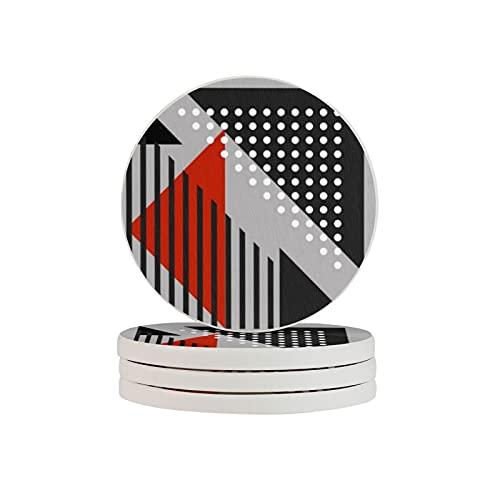 Cojín abstracto moderno negro, rojo, blanco, gris 4 piezas redondo diatomita absorbente posavasos, reutilizable taza de café Mat antideslizante resistente al calor soporte de la taza de la vajilla