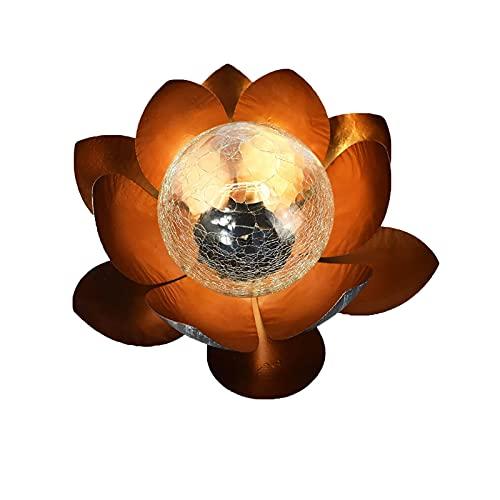 Coding Lampada solare a LED per esterni da giardino, a forma di loto in metallo, con sfera di vetro, lampada solare da giardino, fiore di loto per vialetti, cortili, veranda, terrazzo (oro)