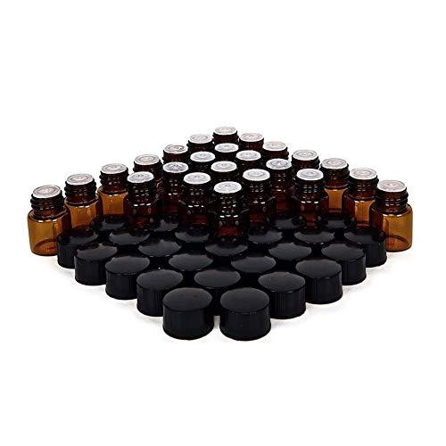 XIAOFANG 24X 1/4 1 ml Kleine Bernstein Glas-Flaschen Flaschen Behälter W/Orifice Reducer & Black Cap for Ätherisches Öl Probe Parfüm (Material : Amber Glass, Specifications : 1ml)