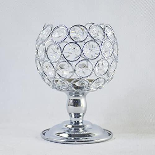 Mobestech portacandele in Cristallo Luce per tè in Cristallo candelabri in Cristallo Argento per la Festa a casa (2 Pezzi 10 cm)