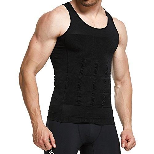 GKVK Mens Slimming Body Shaper Vest Shirt Abs Abdomen Slim,XL(chest size 106cm-110cm/42inches-44inches),Black