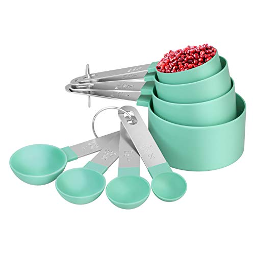 8 Piece Measuring Cups and Spoon Set - Plastic Measuring Cup and Spoon with Stainless Steel Handle, Measuring Tool for Liquids and Solids (Teal)