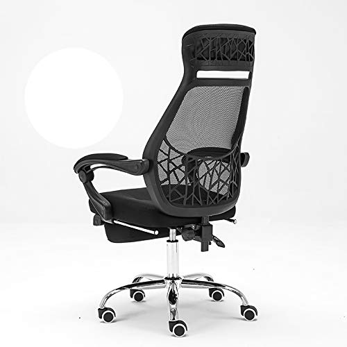 Lefran Mesh Desk Chair Wheels Bedroom,Ergonomic Office Computer Chair High Back Cushion,Reclining Office Chair With Footrest-Black