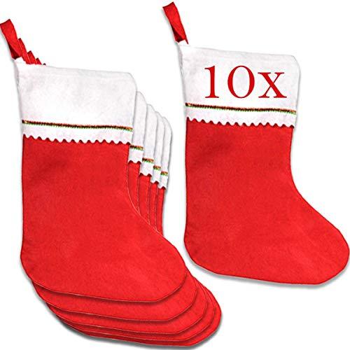 Jonami Weihnachtsstrumpf, Nikolausstiefel, Nikolausstrumpf, Weihnachtssocken, Nikolaussocken, Nikolaus Socke Strumpf zum Aufhängen und Befüllen an Weihnachten -10 Stück -