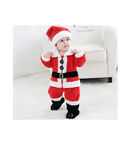 SMALLYU Dubbelzijdig fluweel Kerstkleding pak Meisje Jongen Kleding Kinderen Set Kerst Riem Print Jumpsuit Hoed Baby Warm Out Kleding Kinderen Kleding