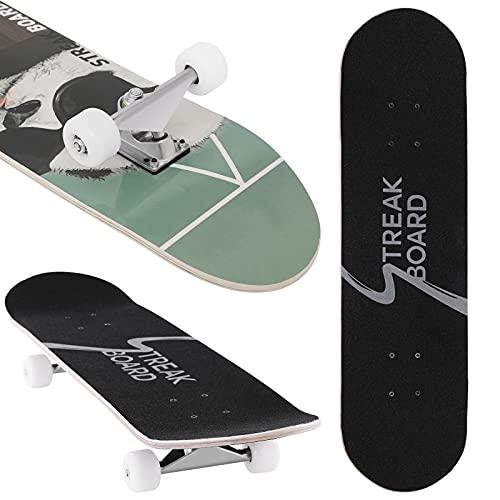 Streakboard Komplett Skateboard 80 x 20 cm, Cruiser Skateboard Erwachsene Kinder für Erwachsene Anfänger Jungen Mädchen Jugendliche, Tricks Skateboard mit Doppeltes Kick Konkaves Deck, Panda