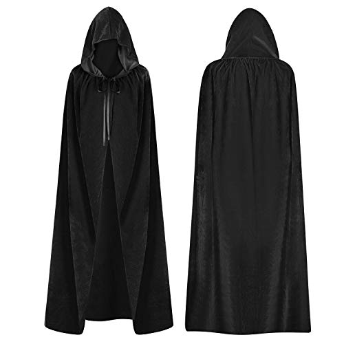 Capa con capucha unisex de vampiro muerto, disfraz de mago largo de terciopelo, disfraz de princesa, fiesta de fantasa medieval, gtico