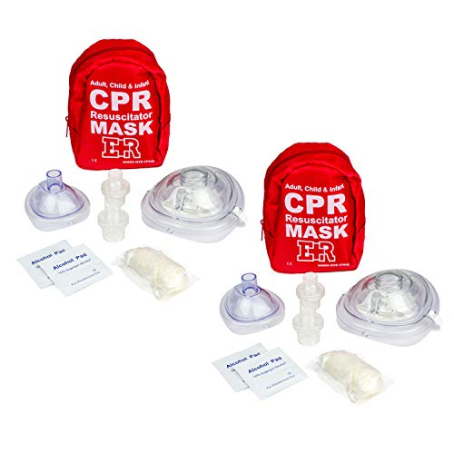 Ever Ready First Aid Adult and Infant CPR Mask Combo Kit with 2 Valves with Pair of Nitrile Gloves amp 2 Alcohol Prep Pads  Red  2 Pack