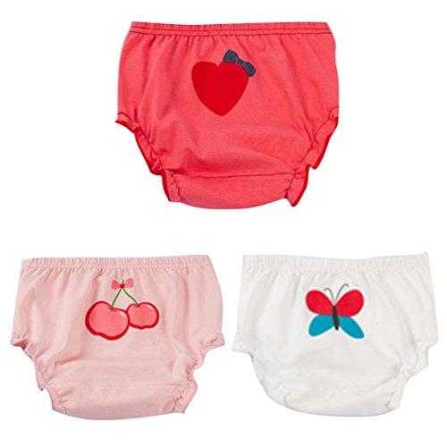 JEELINBORE Ropa Interior para Bebés Niña Braguitas Pantis Volantes Pantalones Bombachos, 3 Piezas | para 1-5 años (Estilo1 Mariposa(3PCS), 100)