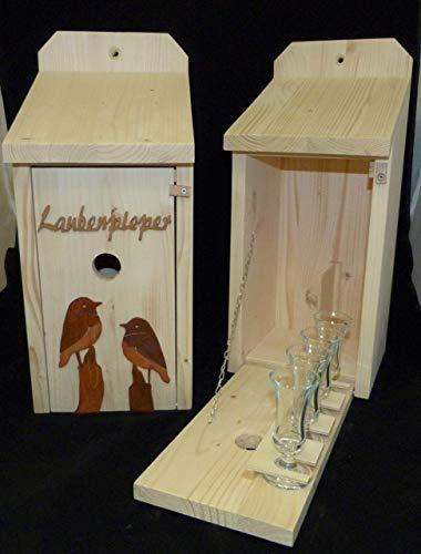 Vogelhaus Schnapsbar Laubenpieper 2 Vögel aus Holz Gartengeschenk Gartenfreund