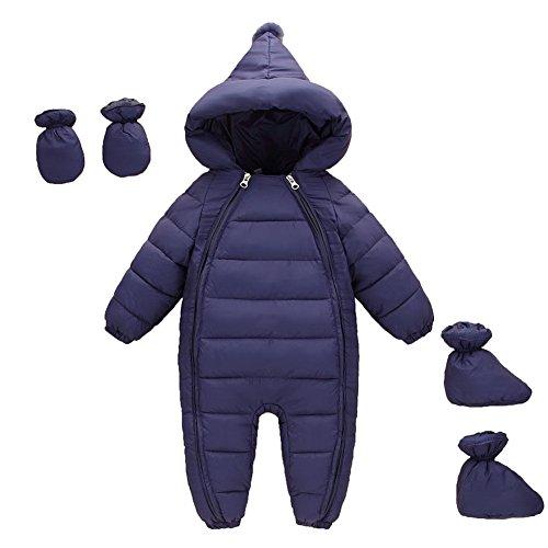 MissChild MissChild Schneeanzug Baby Jungen Mädchen, Daunenanzug Strampler mit Kapuze Quilted Pramsuit Outdoor Overall Winter Snowsuit Outfit Mantel Dunkelblau Label 70