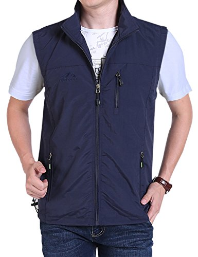 Gihuo Men's Casual Outdoor Stand Collar Lightweight Quick Dry Travel Fishing Sports Vest Outwear (Navy, Large)