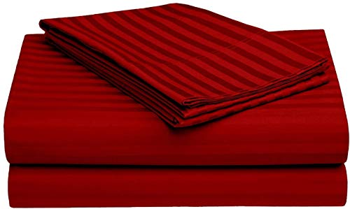 7 Piece - Sheet Set and Duvet Cover Set, 400-Thread-Count 100% Cotton Best-Bedding Sheets for Bed, Sateen Weave Fits Mattress 40 CM Deep Pocket, Burgundy Stripe- UK King Size