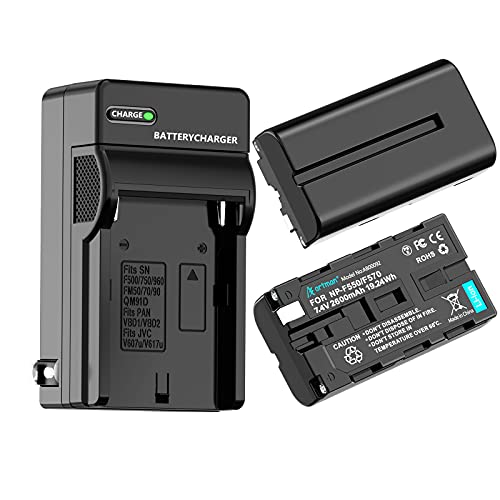 Artman NP-F550 Battery 2-Pack and Wall Charger for Sony NP F550, F530, F970, F960, F770, F750, F330, CCD-SC55, TR516, TR716, TR818, TR910, TR917 Camera, CN-160, CN-216 LED Video Light (2600mAh)