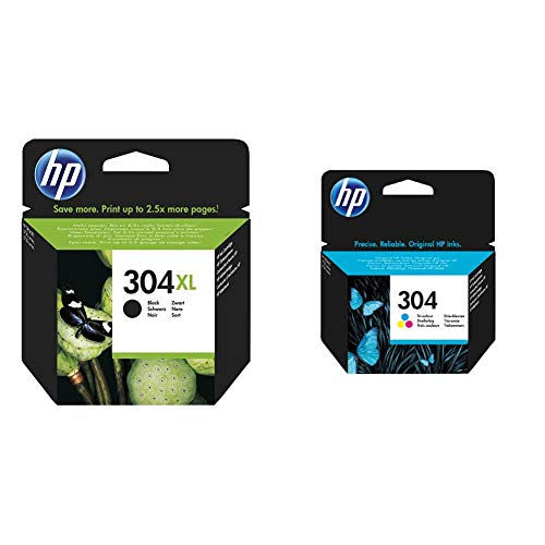 HP N9K08Ae AbeCartuccia D'Inchiostro 304X LNero & 304 Tricromia N9K05Ae Cartuccia Originale Per Stampanti A Getto Di Inchiostro, per Deskjet 2620 E 2630, Deskjet 3720, 3730, 3750 E 3760