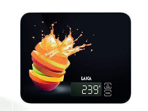 Laica KS5015 Bilancia da Cucina Elettronica, Nera, Vetro Temperato, Tasti Touch Sensor, 15 kg, elettrica, giallo, vetro;vetro temperato