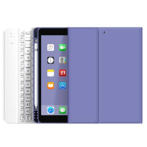 ZOYU iPad Keyboard Case for iPad 9.7 inch 2018 (6th Gen)/ iPad 2017 (5th Gen)/iPad Air 2/Air 1,Lightweight Smart iPad Cover with with Pencil Holder,Magnetically Detachable Wireless Keyboard-Purple