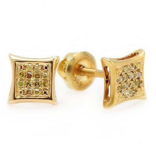 Dazzlingrock Collection 0.10 Carat (ctw) 14k Yellow Round Diamond Micro Pave Setting Kite Shape Stud Earrings 1/10 CT, Yellow Gold